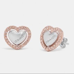 COACH Metal Heart Stud Earrings